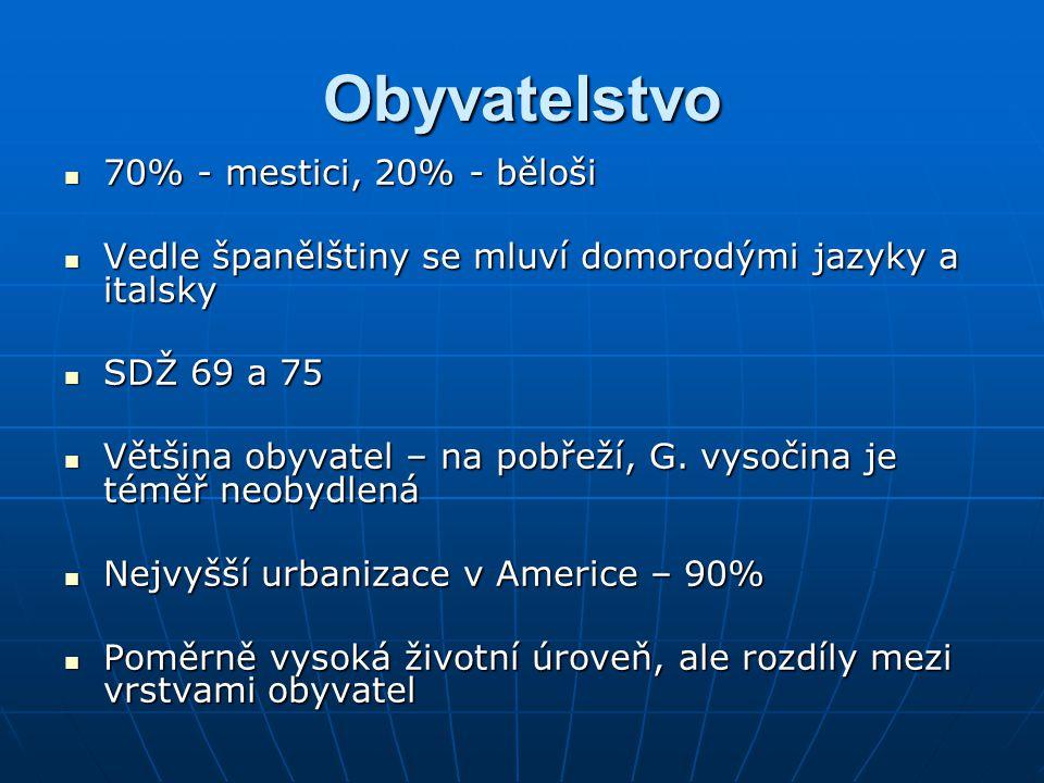 Obyvatelstvo 70% - mestici, 20% - běloši