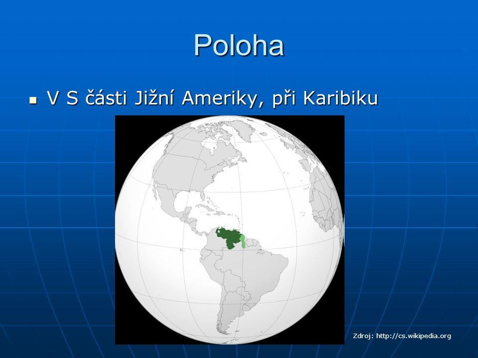 Poloha V S části Jižní Ameriky, při Karibiku