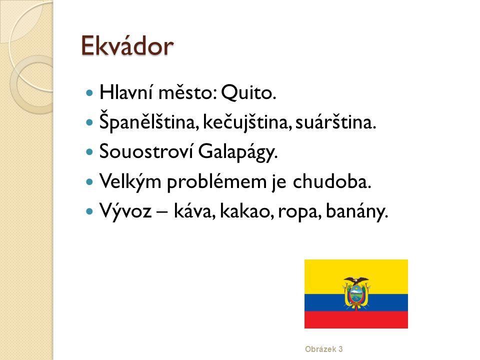 Ekvádor Hlavní město: Quito. Španělština, kečujština, suárština.