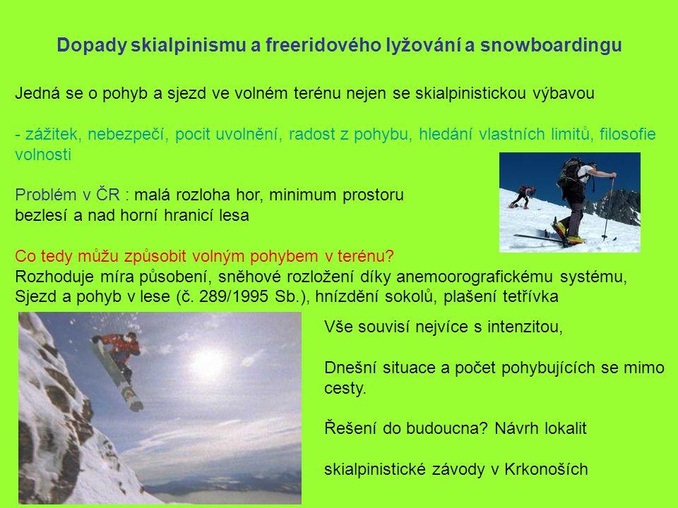 Dopady skialpinismu a freeridového lyžování a snowboardingu