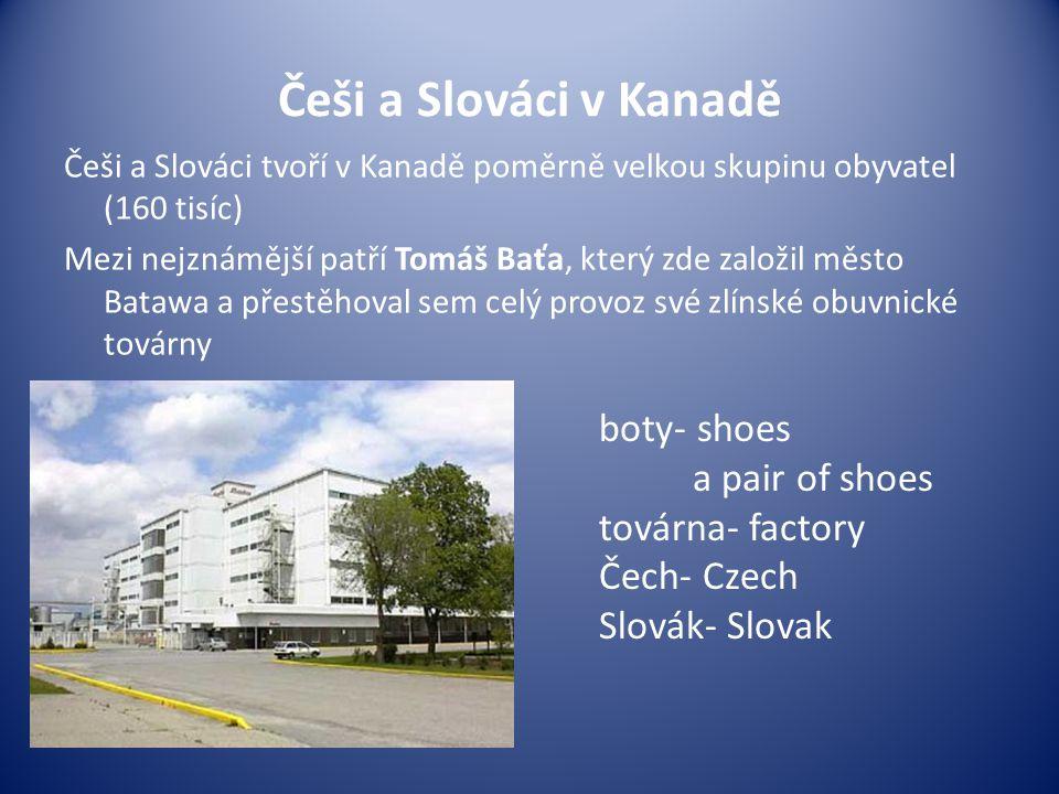 Češi a Slováci v Kanadě boty- shoes a pair of shoes továrna- factory