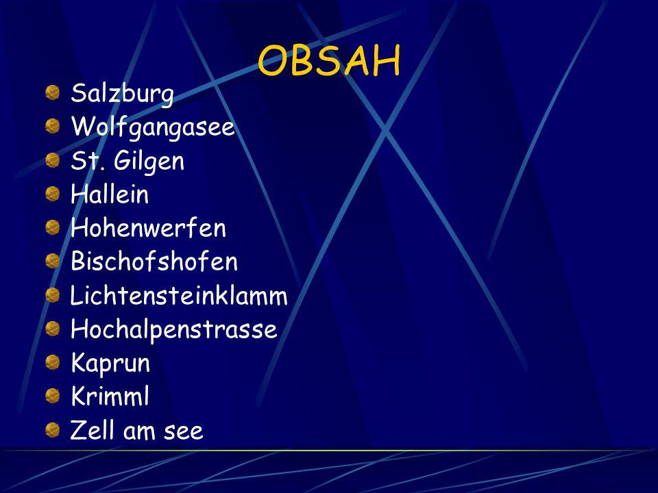 OBSAH Salzburg Wolfgangasee St. Gilgen Hallein Hohenwerfen