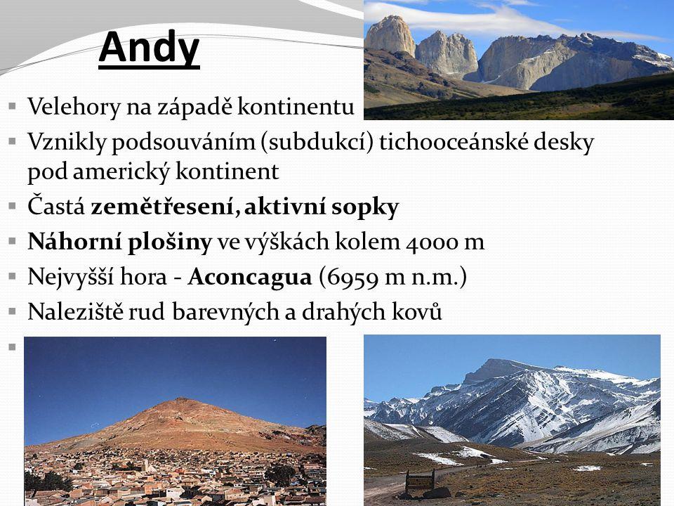Andy Velehory na západě kontinentu