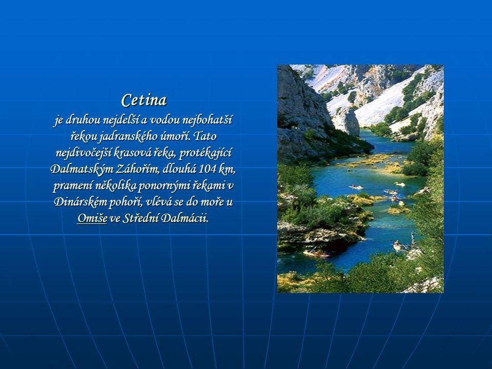 Cetina je druhou nejdelší a vodou nejbohatší řekou jadranského úmoří