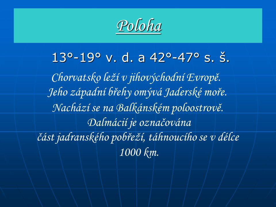 Poloha 13°-19° v. d. a 42°-47° s. š. Chorvatsko leží v jihovýchodní Evropě. Jeho západní břehy omývá Jaderské moře.