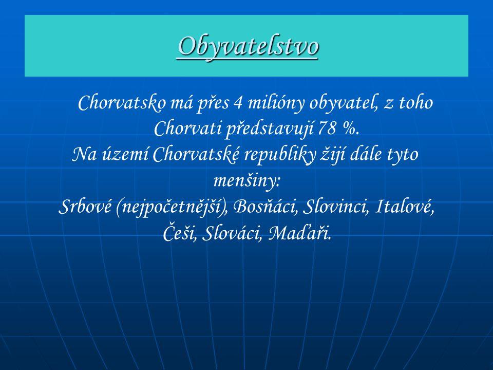 Obyvatelstvo Chorvatsko má přes 4 milióny obyvatel, z toho Chorvati představují 78 %. Na území Chorvatské republiky žijí dále tyto.