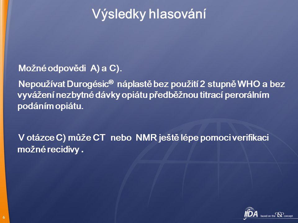 Výsledky hlasování Možné odpovědi A) a C).