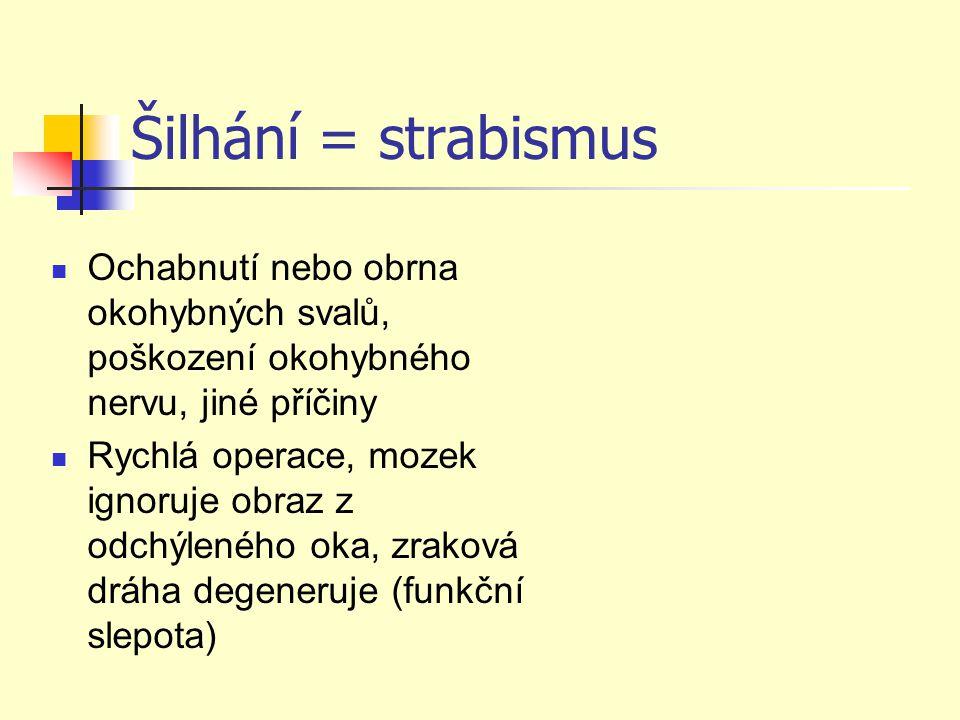 Šilhání = strabismus Ochabnutí nebo obrna okohybných svalů, poškození okohybného nervu, jiné příčiny.