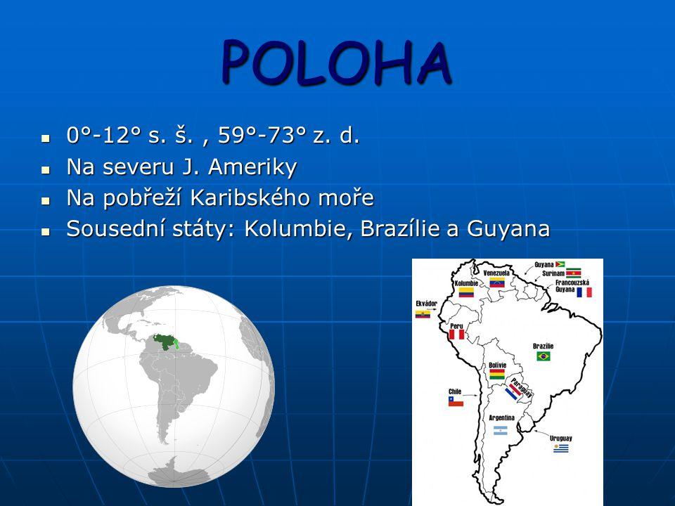 POLOHA 0°-12° s. š. , 59°-73° z. d. Na severu J. Ameriky