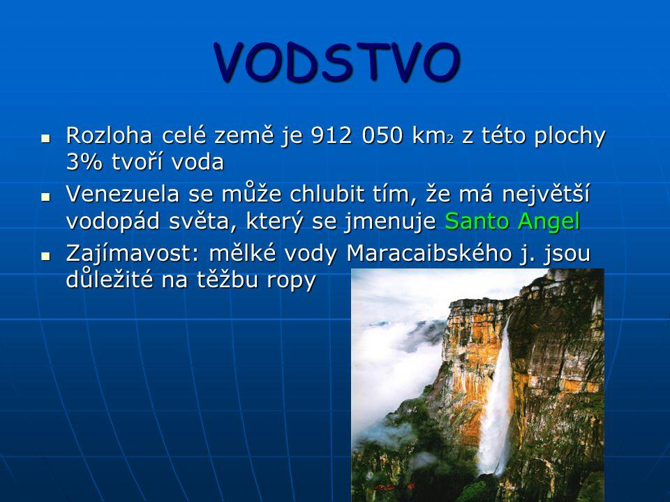 VODSTVO Rozloha celé země je 912 050 km2 z této plochy 3% tvoří voda