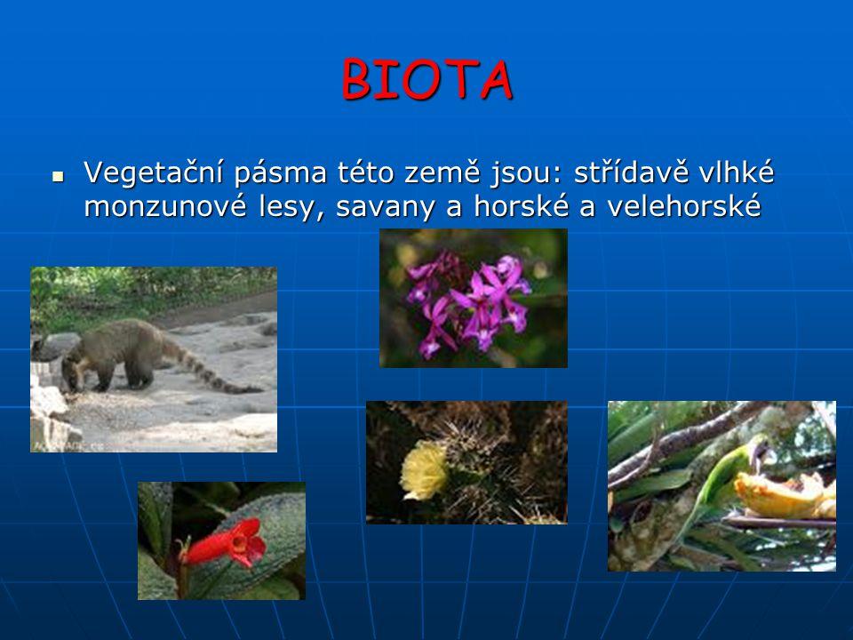 BIOTA Vegetační pásma této země jsou: střídavě vlhké monzunové lesy, savany a horské a velehorské