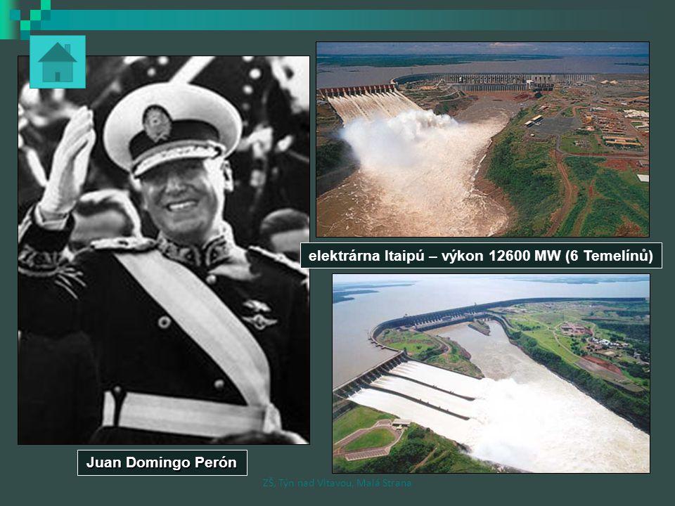 elektrárna Itaipú – výkon 12600 MW (6 Temelínů)
