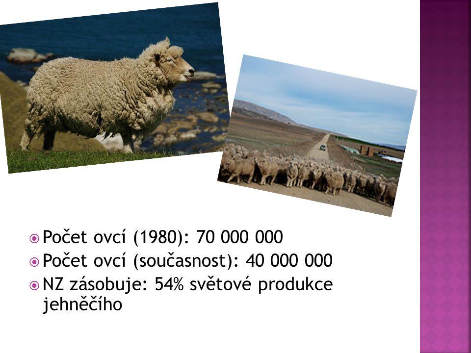 Počet ovcí (1980): 70 000 000 Počet ovcí (současnost): 40 000 000.