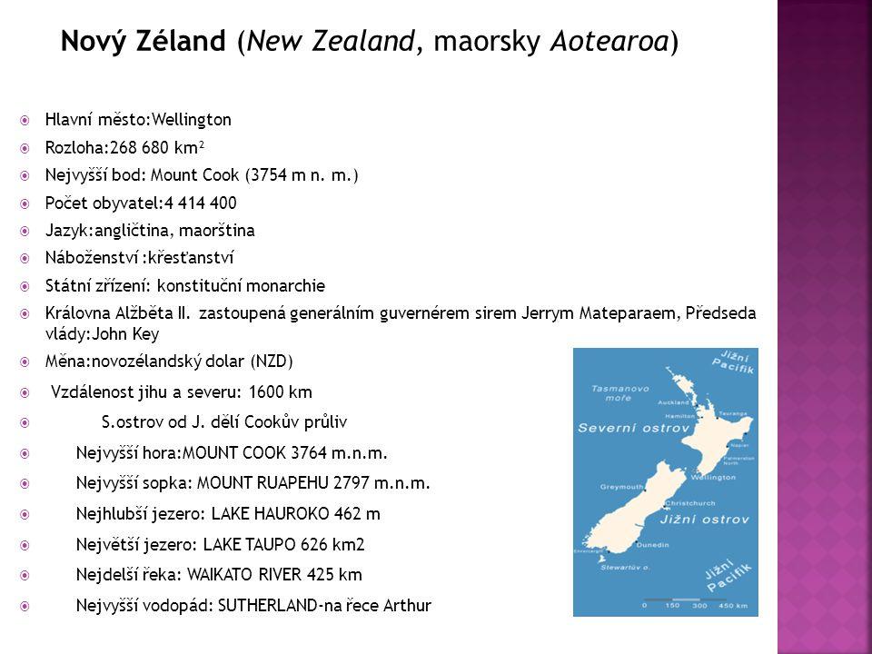 Nový Zéland (New Zealand, maorsky Aotearoa)