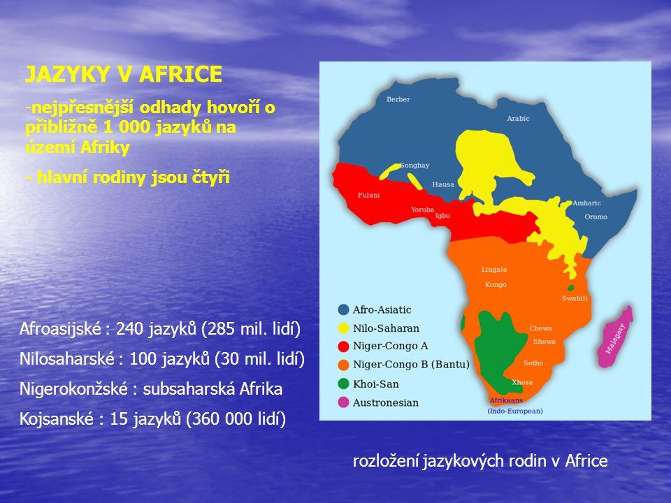 JAZYKY V AFRICE nejpřesnější odhady hovoří o přibližně 1 000 jazyků na území Afriky. - hlavní rodiny jsou čtyři.