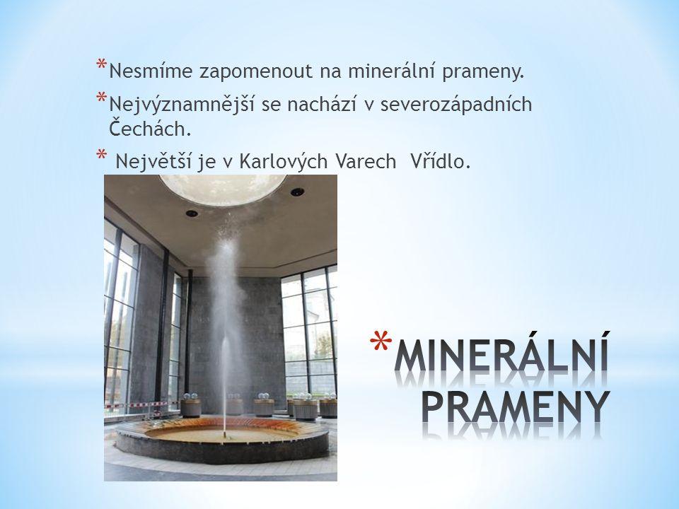 MINERÁLNÍ PRAMENY Nesmíme zapomenout na minerální prameny.