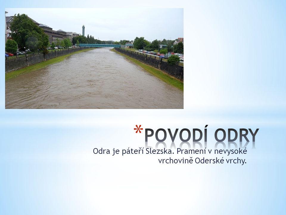 POVODÍ ODRY Odra je páteří Slezska. Pramení v nevysoké vrchovině Oderské vrchy.