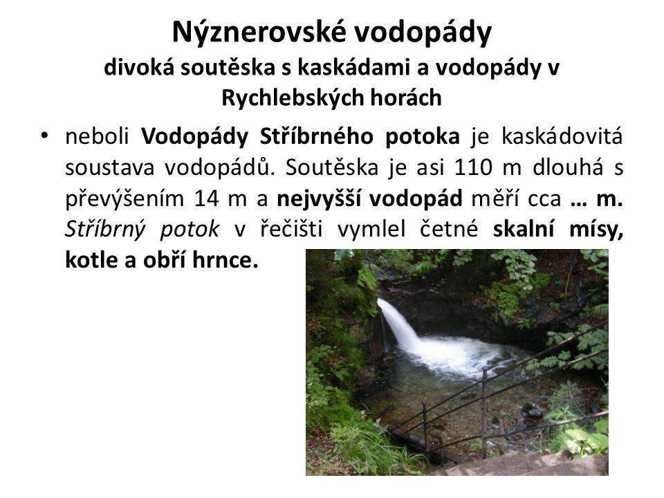 Nýznerovské vodopády divoká soutěska s kaskádami a vodopády v Rychlebských horách