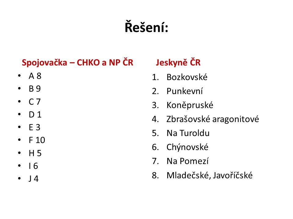 Řešení: Spojovačka – CHKO a NP ČR Jeskyně ČR A 8 B 9 C 7 D 1 E 3 F 10