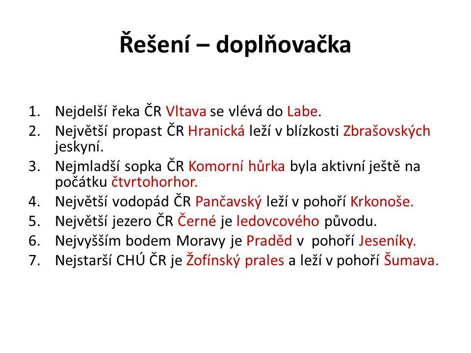 Řešení – doplňovačka Nejdelší řeka ČR Vltava se vlévá do Labe.
