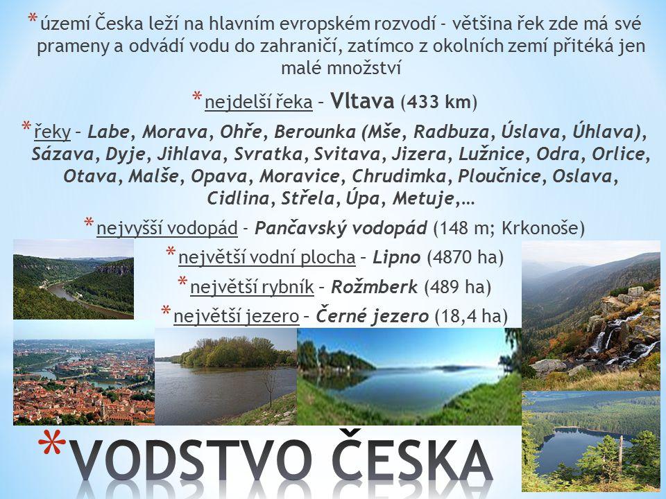 území Česka leží na hlavním evropském rozvodí - většina řek zde má své prameny a odvádí vodu do zahraničí, zatímco z okolních zemí přitéká jen malé množství