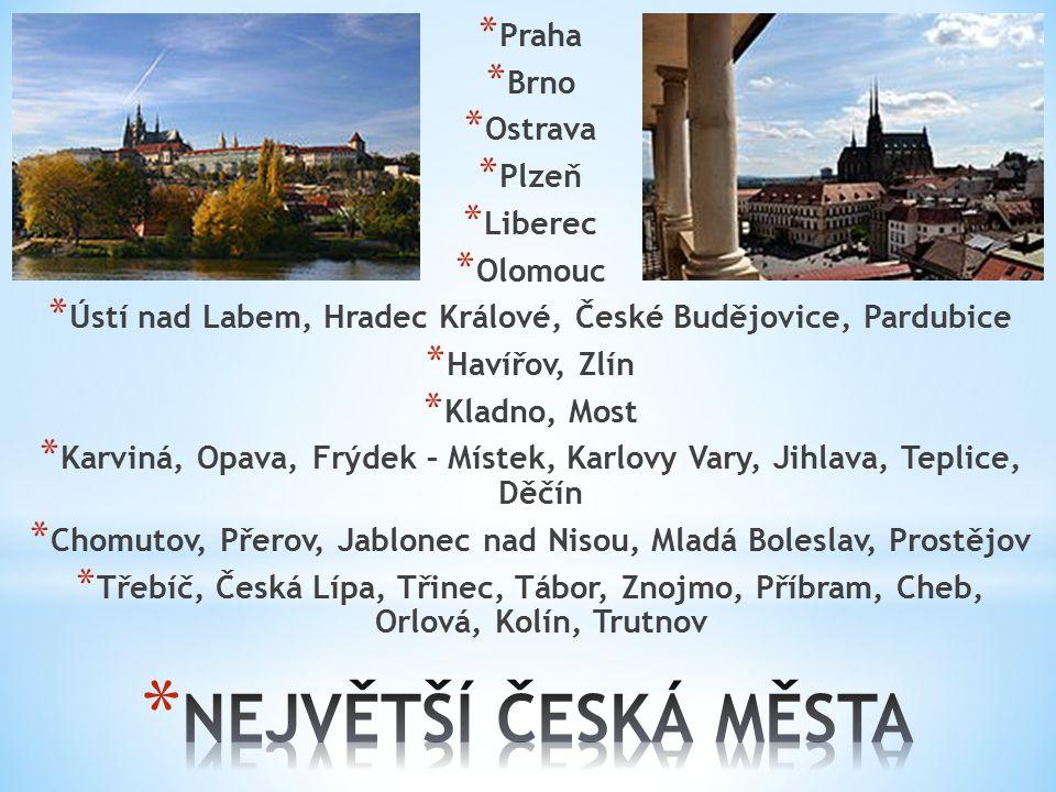 NEJVĚTŠÍ ČESKÁ MĚSTA Praha Brno Ostrava Plzeň Liberec Olomouc