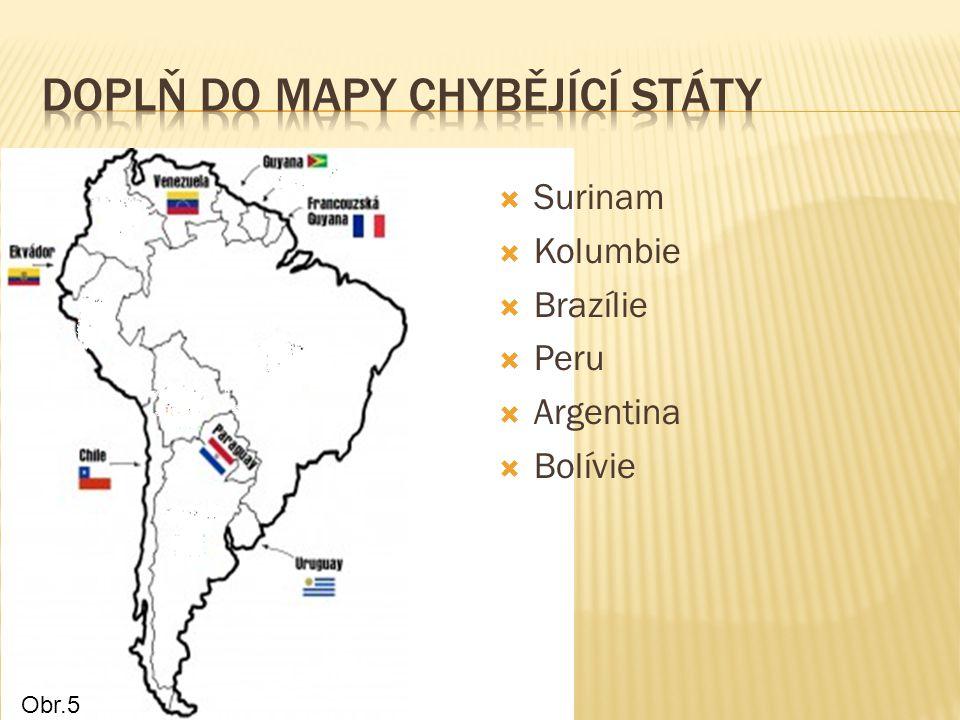 Doplň Do mapy chybějící státy