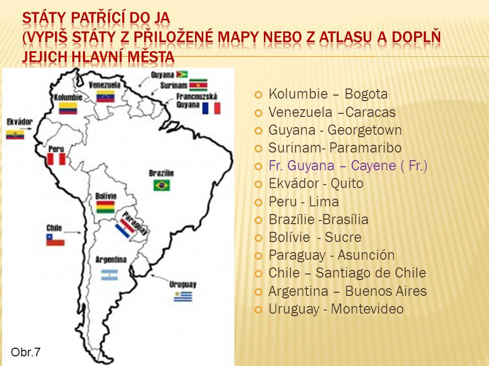 Státy patřící do JA (vypiš státy z přiložené mapy nebo z atlasu a doplň jejich hlavní města