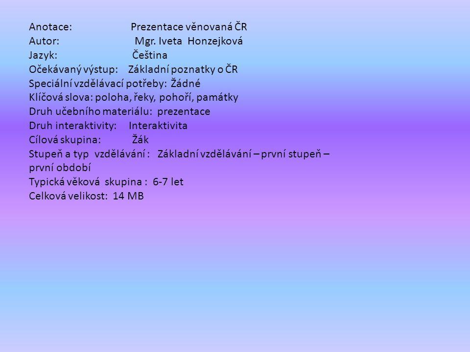 Anotace: Prezentace věnovaná ČR