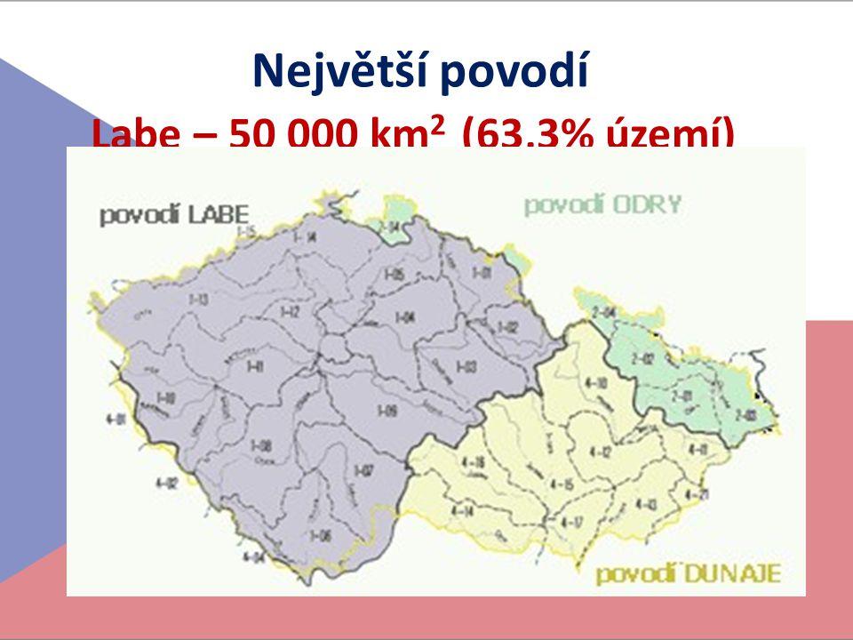 Největší povodí Labe – 50 000 km2 (63,3% území)