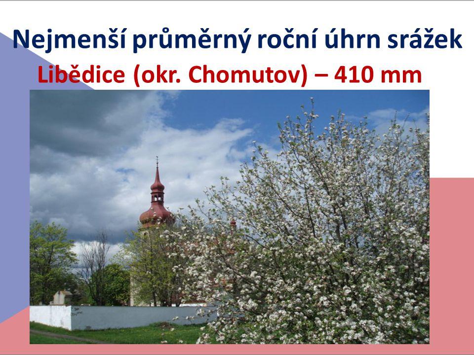 Nejmenší průměrný roční úhrn srážek Libědice (okr. Chomutov) – 410 mm