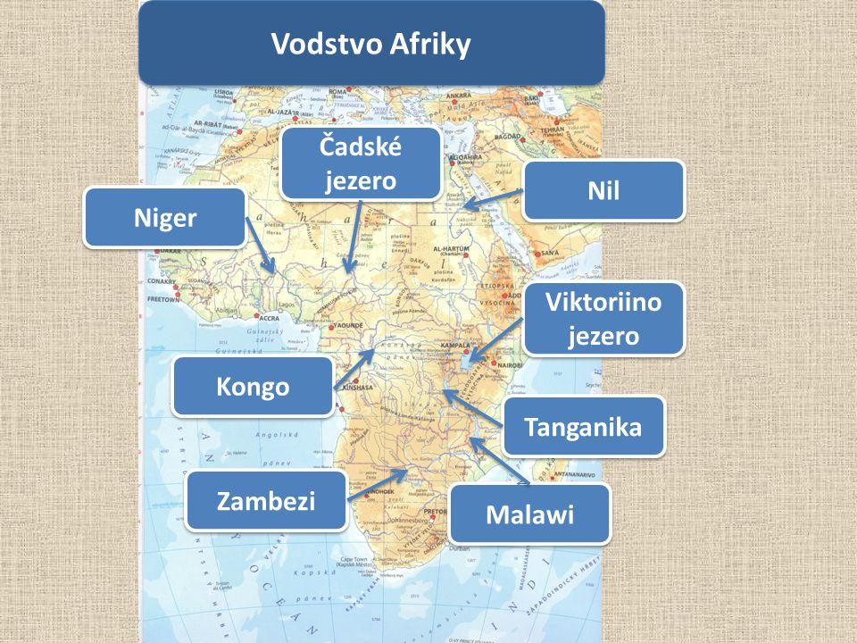 Vodstvo Afriky Čadské jezero Nil Niger Viktoriino jezero Kongo