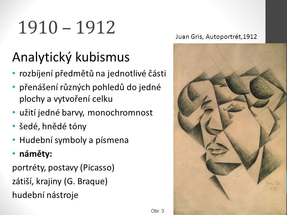 1910 – 1912 Analytický kubismus rozbíjení předmětů na jednotlivé části