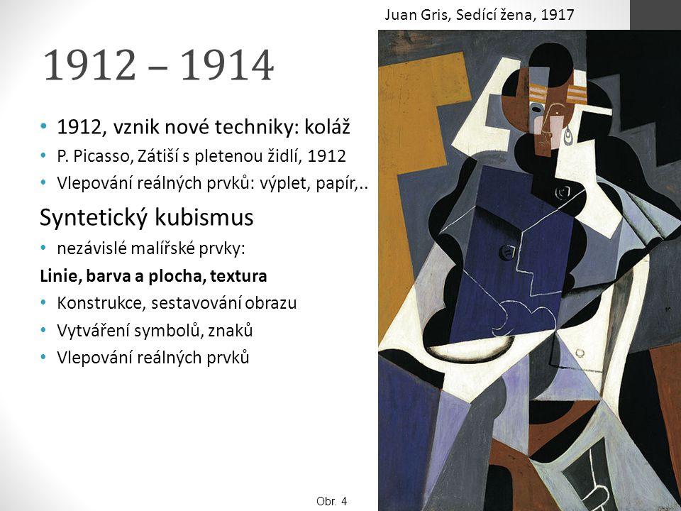 1912 – 1914 Syntetický kubismus 1912, vznik nové techniky: koláž