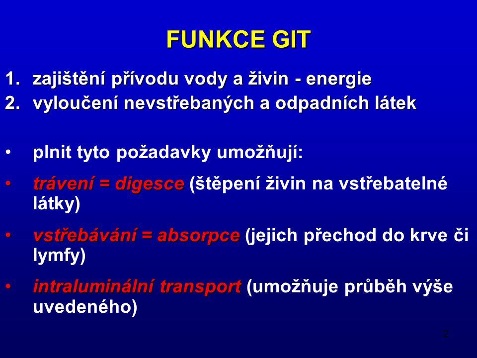 FUNKCE GIT zajištění přívodu vody a živin - energie