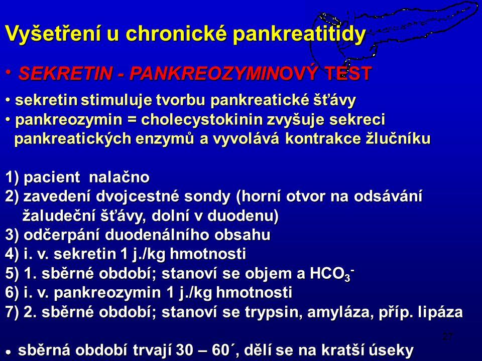 Vyšetření u chronické pankreatitidy