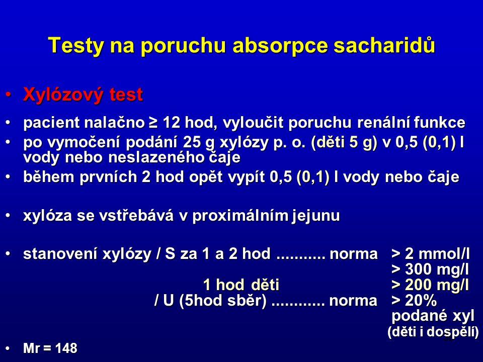 Testy na poruchu absorpce sacharidů