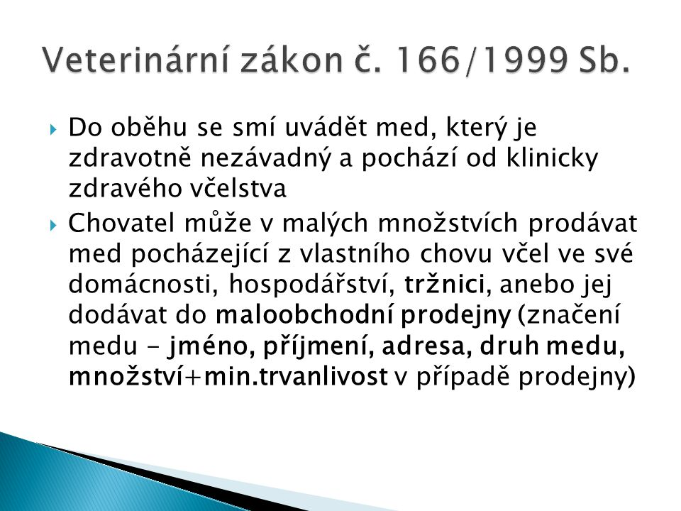 Veterinární zákon č. 166/1999 Sb.