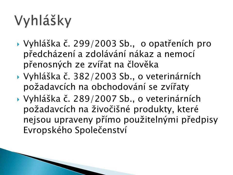 Vyhlášky Vyhláška č. 299/2003 Sb., o opatřeních pro předcházení a zdolávání nákaz a nemocí přenosných ze zvířat na člověka.