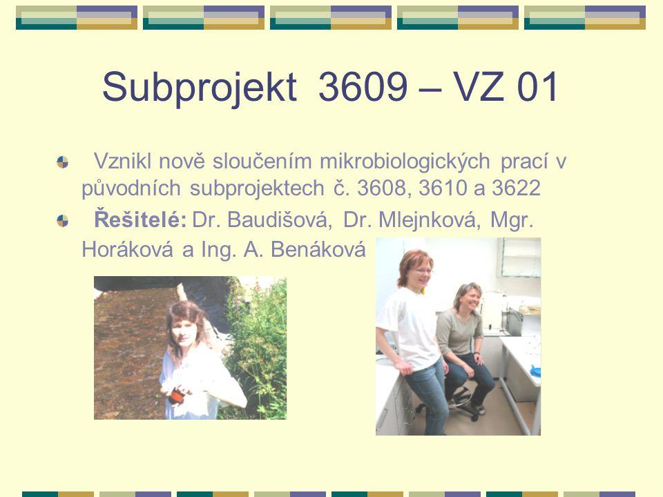 Subprojekt 3609 – VZ 01 Vznikl nově sloučením mikrobiologických prací v původních subprojektech č. 3608, 3610 a 3622.