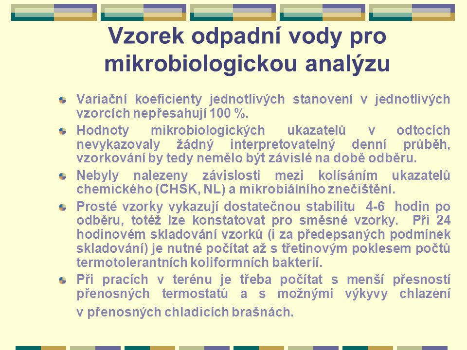 Vzorek odpadní vody pro mikrobiologickou analýzu