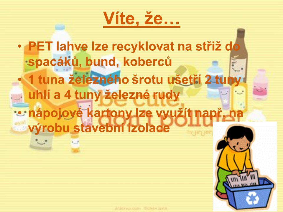 Víte, že… PET lahve lze recyklovat na střiž do spacáků, bund, koberců