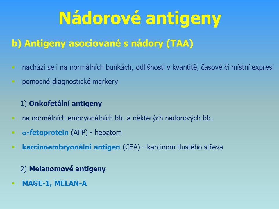 Nádorové antigeny b) Antigeny asociované s nádory (TAA)