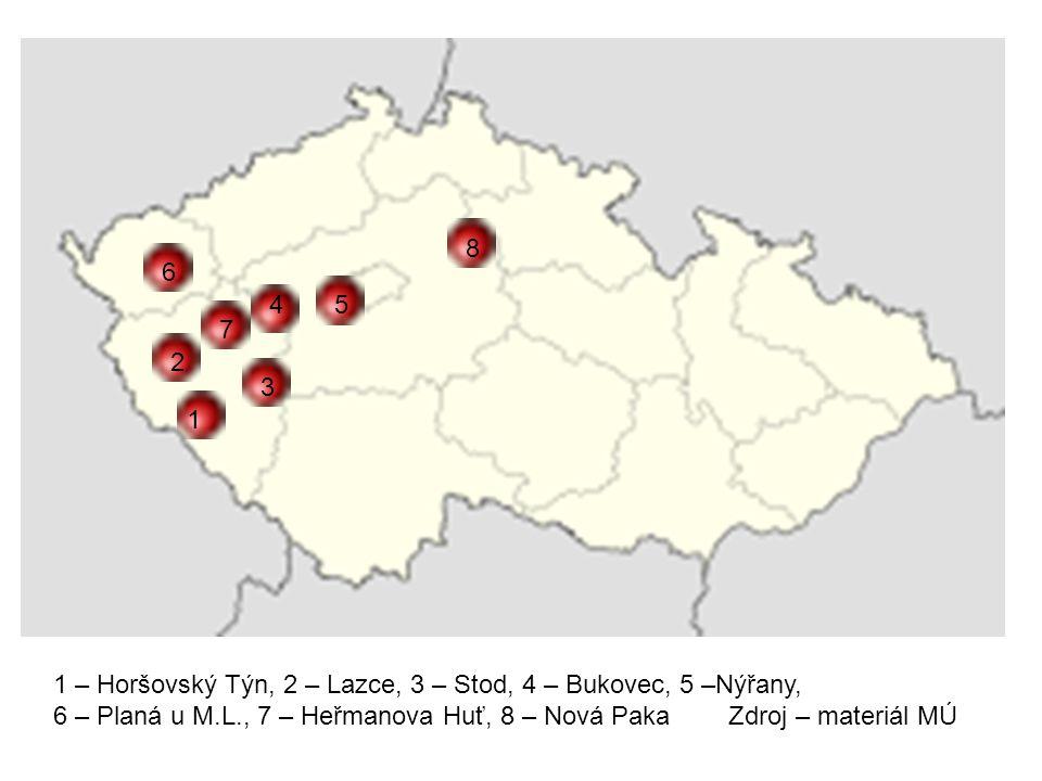 8 6. 4. 5. 7. 2. 3. 1. 1 – Horšovský Týn, 2 – Lazce, 3 – Stod, 4 – Bukovec, 5 –Nýřany,