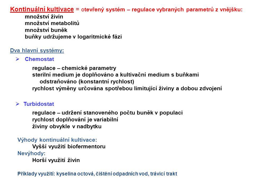 Kontinuální kultivace = otevřený systém – regulace vybraných parametrů z vnějšku: