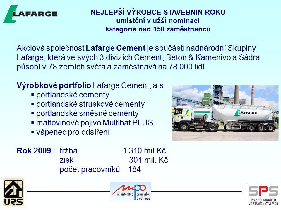 Výrobkové portfolio Lafarge Cement, a.s.: portlandské cementy