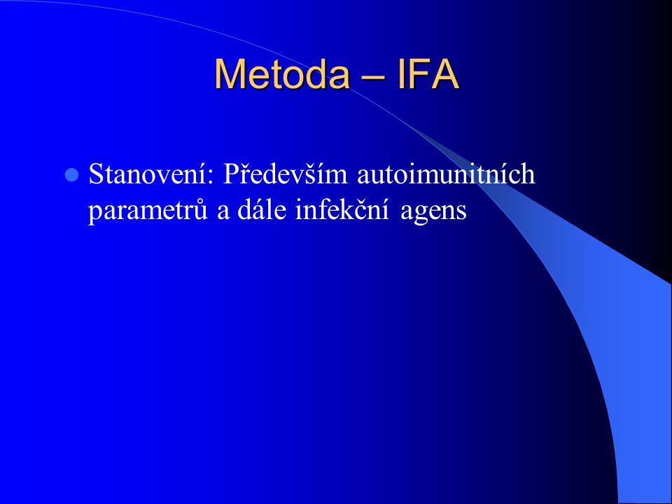 Metoda – IFA Stanovení: Především autoimunitních parametrů a dále infekční agens