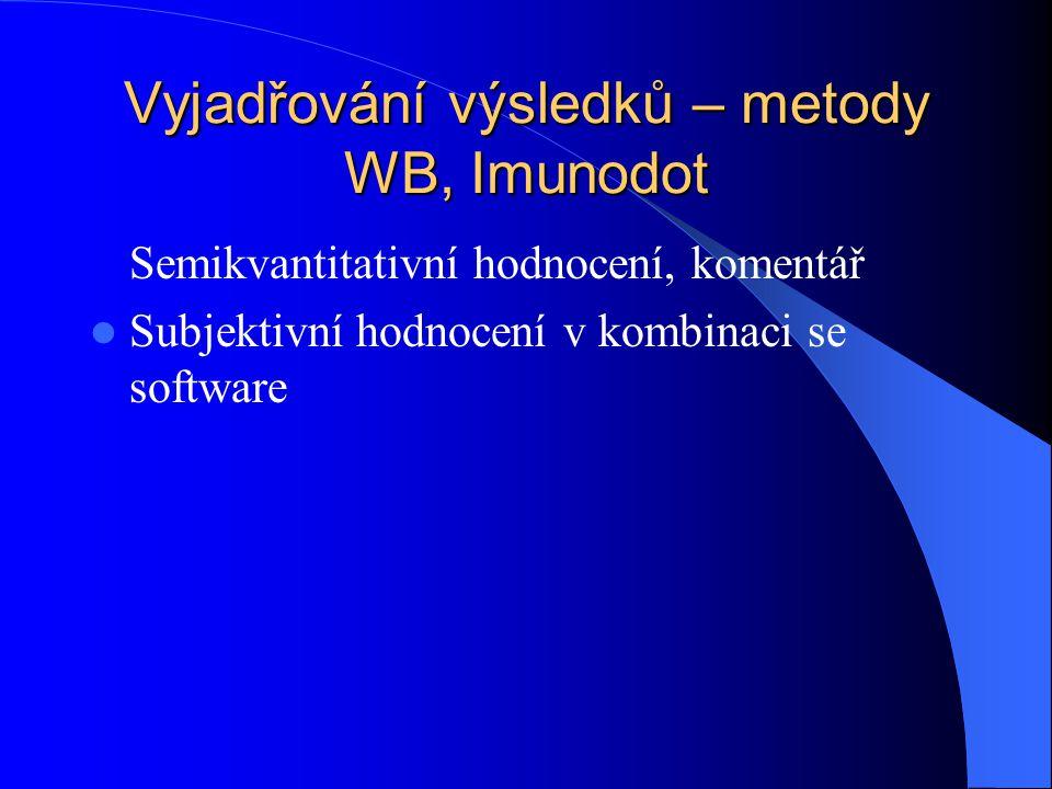 Vyjadřování výsledků – metody WB, Imunodot