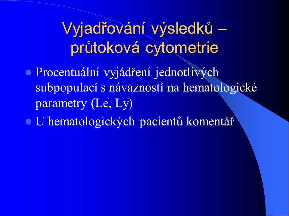 Vyjadřování výsledků – průtoková cytometrie