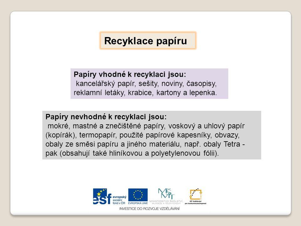 Recyklace papíru Papíry vhodné k recyklaci jsou: